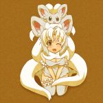 1girl animal_ears cinccino kuromiya looking_at_viewer open_mouth personification pokemon pokemon_(creature) smile solo thigh-highs thighhighs v_arms wink
