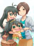 antenna_hair aqua_eyes black_hair brown_eyes brown_hair cheek_poke don_michael earrings ganaha_hibiki idolmaster jewelry long_hair poking ponytail short_hair