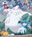 abomasnow blue_eyes cloud clouds cresselia froslass glaceon hail halo mountain no_humans open_mouth outdoors pink_eyes pokemoa pokemon pokemon_(creature) scarf shedinja sky