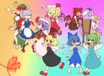 >:) >:3 >:d >_< 6+girls :< :3 :d :o apron ascot back barefoot bat_wings between_fingers blonde_hair blood blue_dress blue_eyes blue_hair book book_stack boots bow braid breasts capelet chair chibi china_dress chinese_clothes cirno clenched_hand clenched_hands closed_eyes colorful crescent daiyousei dress dress_shirt everyone eyes_closed fairy_wings fang flandre_scarlet floating frills giving_up_the_ghost gradient gradient_background green_dress green_eyes green_hair grin hair_bow happy hat hat_bow head_wings heart highres holding holding_book hong_meiling index_finger_raised izayoi_sakuya knife knifed koakuma large_bow long_hair long_sleeves looking_back low-tied_long_hair low_wings maid maid_headdress mary_janes multiple_girls necktie nose_bubble open_book open_mouth outstretched_arms patchouli_knowledge pentagram pink_dress purple_dress purple_eyes purple_hair raised_finger raised_fist reading red_eyes red_hair redhead remilia_scarlet rumia shirt shoes short_hair short_sleeves side_ponytail side_slit silver_hair sitting skirt skirt_set smile spit_take spitting spread_arms striped striped_dress tatudosi the_embodiment_of_scarlet_devil touhou twin_braids vertical_stripes very_long_hair vest violet_eyes waist_apron white_shirt wide_sleeves wings x3
