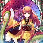 antlers ball blush dragon dragon_girl dragon_horns dragon_tail eastern_dragon holding horns japanese_clothes kimono long_hair miyase_mahiro monster_monster red_hair redhead solo tail umbrella yellow_eyes yukata