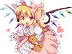 :d blonde_hair blush dress flandre_scarlet frilled_dress frills hat heart lolita_fashion matatabi_maru open_mouth red_eyes side_ponytail simple_background smile solo stuffed_animal stuffed_toy sweet_lolita teddy_bear touhou white_background wings wrist_cuffs