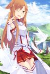 ;d asuna_(sao) bare_shoulders bird breastplate brown_eyes brown_hair detached_sleeves hao_(patinnko) highres long_hair mountain open_mouth skirt sky smile solo sword sword_art_online thighhighs water weapon white_legwear wink yuuki_asuna