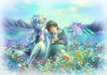 1boy 1girl black_hair flower flower_field gundam gundam_00 gundam_00_a_wakening_of_the_trailblazer head_wreath long_hair marina_ismail old_woman pilot_suit ris setsuna_f_seiei silver_hair yellow_eyes