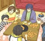4boys :t arisato_minato black_hair blue_hair brown_hair couch eating female_protagonist_(persona_3) food fruit fruit_on_head hair_ornament hairclip kotatsu mochizuki_ryouji multiple_boys open_mouth orange peeling persona persona_3 persona_3_portable pharos short_hair smile sweater table teodor yumiyoshi