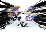2girls ajirogasa boots dress gradient_hair grey_hair hat hijiri_byakuren japanese_clothes kariginu light_brown_hair mononobe_no_futo multicolored_hair multiple_girls punching purple_hair seeker shoes short_sleeves skirt speed_lines tate_eboshi touhou