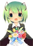 :d antennae bad_id blush bouquet cape deyu_(aytms) flower green_eyes green_hair holding open_mouth short_hair simple_background smile solo touhou white_background wriggle_nightbug