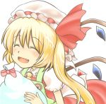 1girl apron bag blonde_hair buttons closed_eyes fang flandre_scarlet hat hat_ribbon lowres mob_cap open_mouth ribbon short_hair short_sleeves side_ponytail simple_background skirt skirt_set solo touhou white_background wings yuuma_(pumpkin)