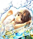 arm_up arms_up bottle brown_eyes brown_hair cork dress gloves highres holding looking_at_viewer lying marble original popsicle sakura_ani short_hair solo sundress water wet wet_clothes