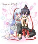 1boy 1girl bad_id bare_shoulders blush bound_wrists couple dress hair_ornament hair_ribbon heart hug hug_from_behind iron_maiden_jeanne long_hair nemokochi open_mouth red_eyes ribbon shaman_king silver_hair sitting tao_ren title_drop