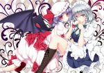 2girls apron ayase_hazuki bat_wings blue_eyes blush boots braid covering_mouth cross-laced_footwear hair_ribbon hat hat_ribbon izayoi_sakuya knee_boots kneeling lavender_hair looking_at_viewer maid_headdress multiple_girls open_mouth red_eyes remilia_scarlet ribbon short_hair silver_hair sitting skirt touhou twin_braids waist_apron wings wrist_cuffs