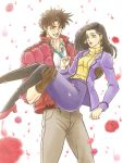1boy 1girl 96kuroie black_hair blue_eyes brown_hair carrying flower jacket jojo_no_kimyou_na_bouken joseph_joestar_(young) lisa_lisa long_hair mother_and_son pantyhose princess_carry red_jacket