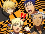 1girl 3boys all-out_attack archer asarihamaguri bad_id blonde_hair blue_hair dark_skin earrings fate/stay_night fate_(series) food food_on_face gilgamesh green_eyes grey_eyes jewelry lancer long_hair multiple_boys parody persona persona_4 ponytail red_eyes saber style_parody white_hair