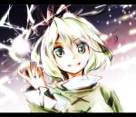 1girl green_eyes green_hair hat makuwauri short_hair soga_no_tojiko solo spark tate_eboshi touhou wavy_hair