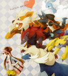 altaria arcanine bag black_legwear brown_hair checkered checkered_background creature double_bun galvantula heart kuru lucario mei_(pokemon) nintendo pantyhose pokemon pokemon_(game) pokemon_bw2 raglan_sleeves samurott shoulder_bag skirt smile twintails visor_cap zoroark