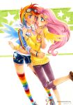 2girls dark-persian fluttershy goggles hair_ornament hairpin long_hair midriff multicolored_hair multicolored_legwear multiple_girls my_little_pony my_little_pony_friendship_is_magic pink_hair rainbow_dash scarf short_hair shorts simple_background traditional_media