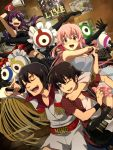 2girls amano_yukiteru black_hair blue_eyes blush brown_hair closed_eyes dress eyepatch eyes_closed fishnets gasai_yuno guitar hirasaka_yomotsu instrument jewelry kousaka_ouji long_hair low_twintails megaphone microphone mirai_nikki multiple_boys multiple_girls ndo2 necklace open_mouth pink_hair poster poster_(object) purple_eyes purple_hair red_eyes singing skirt smile uryuu_minene violet_eyes wristband