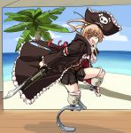 1girl brown_hair captain_liliana captain_liliana_(cosplay) cosplay cyzir_visheen green_eyes gunblade hair_bobbles hair_ornament hat ibarazaki_emi jolly_roger katawa_shoujo long_coat pirate_hat pleated_skirt prosthesis queen's_blade queen's_blade skirt skull_and_crossed_swords solo twintails weapon