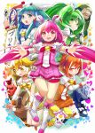 akaooni aoki_reika boots candy_(smile_precure!) card cure_beauty cure_happy cure_march cure_peace cure_sunny haruken heart highres hino_akane hoshizora_miyuki joker_(smile_precure!) kise_yayoi majorina midorikawa_nao multiple_girls outstretched_arms precure sign smile_precure! spatula spread_arms thighhighs wolfrun