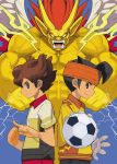 ball blue_eyes brown_eyes brown_hair endou_mamoru headband inazuma_eleven inazuma_eleven_(series) inazuma_eleven_go male matsukaze_tenma multiple_boys open_mouth short_hair soccer_ball yuuki_(irodo_rhythm)