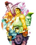 chad_walker chinese_clothes chun-li elena eyebrows eyepatch fingerless_gloves gammon gloves gouki guile hair_bun headband kasugano_sakura leg_up looking_at_viewer m_bison pantyhose ryuu_(street_fighter) sagat short_hair simple_background street_fighter street_fighter_iii street_fighter_zero