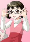 adjusting_glasses bag bespectacled black_hair brown_eyes doujima_nanako dress glasses hair_ribbon open_mouth persona persona_4 ribbon shopping_bag smile solo twintails yaso_shigeru