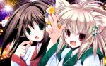 2girls animal_ears black_hair blonde_hair fang fireworks original tenmu_shinryuusai