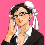 adjusting_glasses alternate_costume bangs bespectacled black_eyes black_hair chun-li earrings glasses hair_bun jewelry lips looking_at_viewer office_lady simple_background street_fighter tonpii