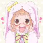adjusting_glasses animal_costume animal_ears bespectacled blush brown_eyes brown_hair bunny_costume glasses highres ichihara_nina idolmaster idolmaster_cinderella_girls kago_no_tori long_hair open_mouth smile solo