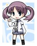 black_legwear blue_eyes catchphrase chibi hanada_kirame kugelschreiber long_sleeves miniskirt necktie open_mouth purple_hair saki saki_achiga-hen school_uniform shoes short_hair short_twintails skirt smile socks solo sparkle standing sweater twintails