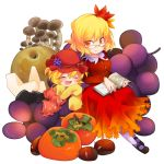 aki_minoriko aki_shizuha apple bespectacled blonde_hair book closed_eyes eyes_closed food fruit glasses grapes hat leaf leaf_on_head long_sleeves mary_janes multiple_girls mushroom nigo nut nut_(food) open_mouth orange_eyes persimmon shoes short_hair siblings simple_background sisters smile socks tomato touhou white_background white_legwear wide_sleeves