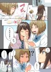 2girls 3: black_hair blush breasts brown_eyes brown_hair comic eating food green_eyes idolmaster idolmaster_cinderella_girls inu_(aerodog) kanzaki_ranko long_hair mimura_kanako multiple_girls pudding school_uniform shibuya_rin short_hair skirt smile tears theft translated translation_request