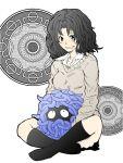 1girl amagami black_legwear crossover grin kneehighs messy_hair mojimojiable pokemon pokemon_(creature) school_uniform smile sweater tanamachi_kaoru tangela