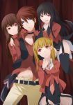 3girls absurdres asmodeus belt black_hair blonde_hair blue_eyes brown_hair chest collarbone garter_belt garter_straps highres long_hair long_sleeves lucifer mammon multiple_girls navel necktie nemu_(nebusokugimi) red_eyes red_hair redhead stakes_of_purgatory thigh-highs thighhighs twintails umineko_no_naku_koro_ni ushiromiya_battler very_long_hair wide_sleeves