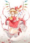 :d ascot blonde_hair blush bow egg eggshell fang flandre_scarlet hat hat_bow kiyu legs_up open_mouth petals red_eyes red_ribbon ribbon short_hair side_ponytail skirt skirt_set smile solo touhou wings wrist_cuffs