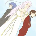 1girl 2boys blue_hair blush brown_hair crossed_arms dress dutch_angle facial_hair fate/zero fate_(series) formal goatee irisviel_von_einzbern long_hair matou_byakuya multiple_boys red_eyes ronpaxronpa suit toosaka_tokiomi white_hair