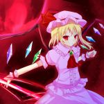 ascot blonde_hair cosplay crystal denu flandre_scarlet hat moon polearm puffy_sleeves red_moon remilia_scarlet remilia_scarlet_(cosplay) short_hair short_sleeves side_ponytail smile solo spear spear_the_gungnir touhou weapon wings wrist_cuffs