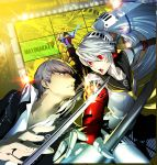 1girl :o absurdres android arc_system_works battle cover grey_eyes grey_hair hat headphones highres katana kuma_(persona_4) labrys narukami_yuu official_art peaked_cap persona persona_4 persona_4:_the_ultimate_in_mayonaka_arena popped_collar recursion red_eyes scan school_uniform serafuku soejima_shigenori sparks sword television weapon white_hair yellow_eyes zoom_layer
