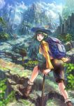 :d arms_up backpack bag bike_shorts bird blue_eyes boots bridge denki green_hair hat hiking looking_back mountain open_mouth original outstretched_arms path scenery shorts sign sky smile walking_stick