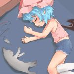 alternate_costume bat_wings blue_hair camisole cat closed_eyes cutoffs denim denim_shorts eyes_closed flat_chest lying madhand midriff on_floor on_side pointy_ears remilia_scarlet short_hair shorts sleeping solo touhou toy_mouse wings