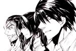 drifters eyepatch glaring grin hibi long_hair male multiple_boys nasu_no_yoichi oda_nobunaga ponytail shimazu_toyohisa short_hair smile