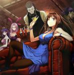 3girls ;) animal_ears aozaki_aoko assassin assassin_(fate/zero) bare_shoulders between_breasts black_skin blue_eyes bracelet breasts bridal_gauntlets brown_hair bunny_ears bunnysuit butler champagne choker cleavage company_connection couch dress drink fate/stay_night fate/zero fate_(series) glass gown hair_intakes highres jewelry large_breasts long_hair mahou_tsukai_no_yoru mask matou_sakura matou_zouken mini_hat multiple_boys multiple_girls official_art pantyhose purple_eyes purple_hair rabbit_ears reclining rider smile task_owner time_paradox true_assassin type-moon violet_eyes wink