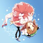 :d animal_ears bow brown_eyes brown_hair cat_ears cat_tail chen fang gradient gradient_background hair_bow hat natsume_eri open_mouth outline short_hair smile solo star tail thigh-highs thighhighs touhou white_legwear wrist_ribbon
