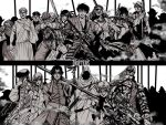 armor blue_eyes bow_(weapon) butch_cassidy chain chains drifters eyepatch gilles_de_rais glaring glasses gloves goggles grigori_rasputin grin gun hannibal hat hijikata_toshizou jeanne_d'arc jeanne_d'arc jewelry kanno_naoshi katana long_hair nasu_no_yoichi necklace oda_nobunaga pistol ponytail publius_cornelius_scipio_africanus red_eyes rifle shimazu_toyohisa short_hair smile spot_color staff sundance_kid sword tamon_yamaguchi the_black_king torn_clothes weapon yamaguchi_tamon