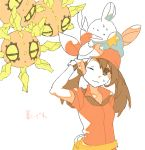 1girl bandana bandanna brown_eyes brown_hair drawr gloves haruka_(pokemon) hot mudkip pokemon pokemon_(creature) pokemon_(game) pokemon_rse shouji_ni_nanshi simple_background solrock sweatdrop