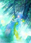 blue_hair blush breasts ghost green_eyes highres hira_(pixiv) holding japanese_clothes kimono long_hair original see-through solo tears tree triangular_headpiece wavy_mouth wisp