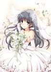 1girl bare_shoulders black_hair blush bouquet breasts bridal_veil chize choker dress elbow_gloves flower gloves gown green_eyes hair_flower hair_ornament happy_tears highres long_hair saten_ruiko smile solo tears to_aru_kagaku_no_railgun to_aru_majutsu_no_index veil wedding_dress