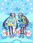 2girls blue_(pokemon) blue_eyes brown_hair double_bun elbow_gloves elet fingerless_gloves gloves goldeen highres legwear_under_shorts mei_(pokemon) multiple_girls oshawott pantyhose pikachu poke_ball pokemon pokemon_(creature) pokemon_(game) pokemon_bw2 pokemon_special raglan_sleeves shorts skirt squirtle thigh-highs thighhighs twintails vest visor_cap