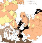 1girl bare_legs baseball_cap blush boots brown_hair charmander denim denim_shorts drawr fire hat long_hair magmar pokemon pokemon_(creature) pokemon_(game) pokemon_bw shorts shouji_ni_nanshi slugma sweatdrop touko_(pokemon) vanillish
