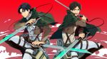 2boys ascot belt black_eyes black_hair boots cape dual_wielding eren_jaeger green_eyes jacket levi_(shingeki_no_kyojin) multiple_boys reverse_grip rurums shingeki_no_kyojin sword thigh_strap three-dimensional_maneuver_gear weapon wire